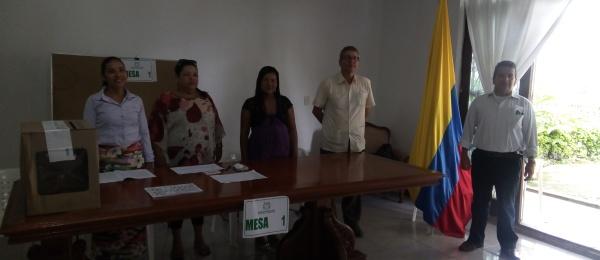 Apertura del último día de elecciones presidenciales en el Consulado fronterizo de Colombia en Tabatinga